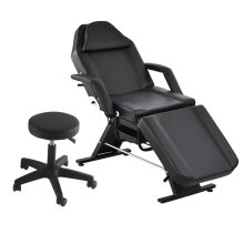 Reclining Black Massage Chair With Stool | Beauty Salon Chair