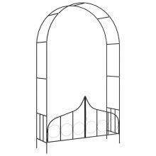 Garden Arch with Gate Black 138x40x238 cm Iron