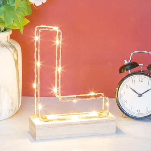 Light Up Letters L   Wire Frame Copper Letter Lights   Bedroom Decor  