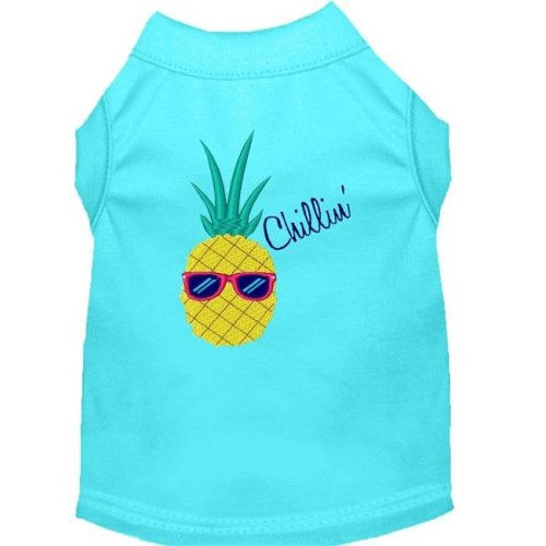 Mirage Pet 650-09 AQMD Pineapple Chillin Embroidered Dog Shirt, Aqua - Medium