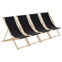 Wooden Deck Chair Folding Garden Beach Seaside Patio BBQ Deckchair Black x4
