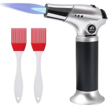 Blow Torch Kitchen Torch Refillable Butane Gas Torch Lighter Cooking BBQ Butane Blow Torch with Safety Lock 2 Brush Adjustable Flame