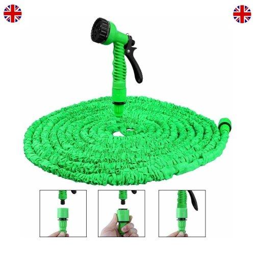 (75FT, Green) Expandable Magic Garden Hose Pipe & Spray Gun