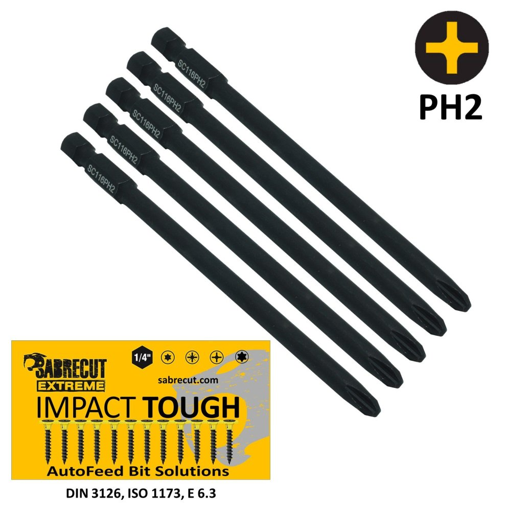 5x Hilti® PH2 116mm Autofeed Collated Screwdriver Bits SMD 57 German Quality