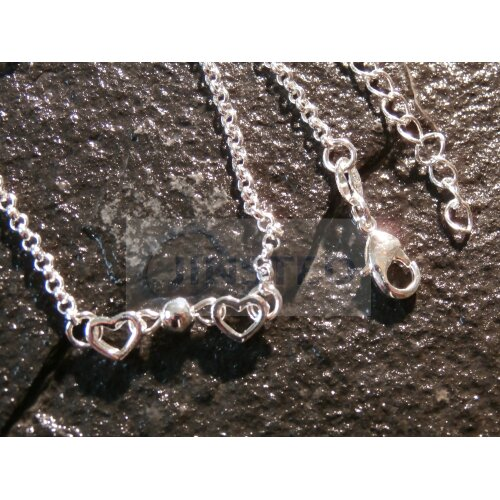 Silver Anklet with 6 3D Heart Charms ANC037