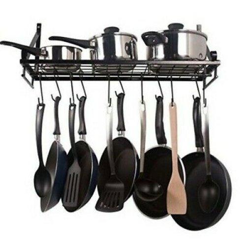 60CM Wall Mounted Kitchen Hanging Rack Pots Hooks Organizer Holder