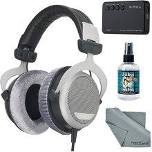 Beyerdynamic DT 880 Premium 600 Ohm Headphones with Amplifier + Cleaner + Fibertique Cloth Bundle