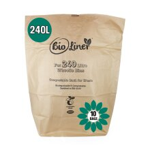 240L BioLiner Eco Sack Paper Compostable Bin Liners (Large Wheelie Bins) - 10 Bags