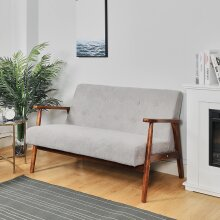Wooden Frame 2 Seater Sofa Armchair Fabric Nordic Small Loveseat Couch Settee