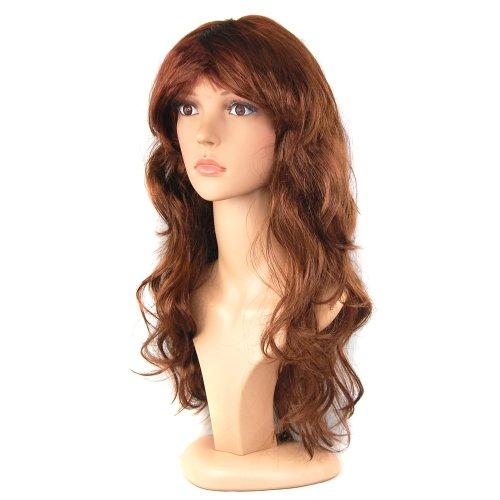 Trixes Female Brunette Long Curly Wavy Fancy Dress Wig