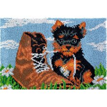 Puppy with Shoe Rug Latch Hooking Kit (81x61cm)