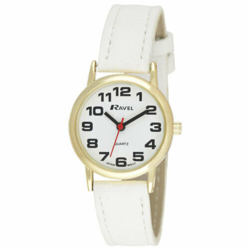 Ravel Ladies Easy Read White Dial & White Faux Leather Strap Watch R0105.34.2A
