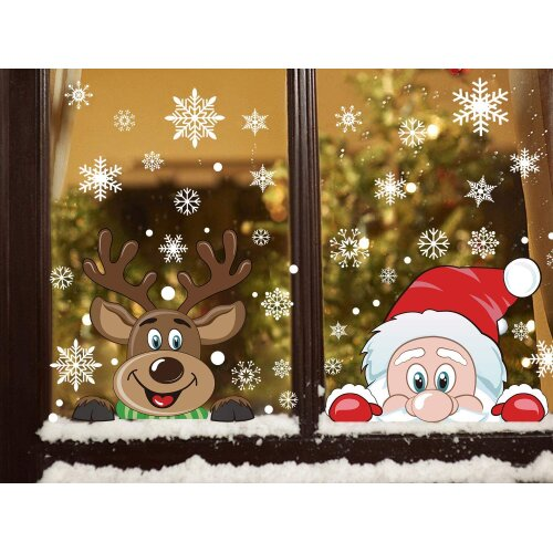 LOKIPA Christmas Window Cling Stickers, 6Sheet Peeping Santa and Rudolph Stickers Decals for Christmas Window Display