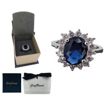 princess Diana inspired adjustable rings four prong faux blue diamond ring 925 silver