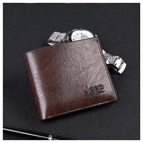 Men's Bi-Fold Wallet, Soft PU Leather Wallet-DarkBrown