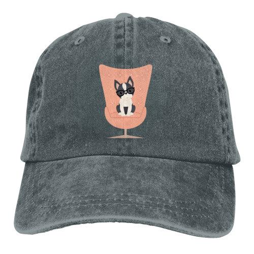 (Dark Grey) Boston Terrier Stay Denim Baseball Caps