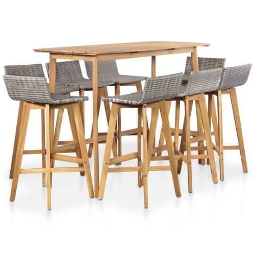 vidaXL Outdoor Bar Set 9 Pieces Poly Rattan Solid Acacia Wood
