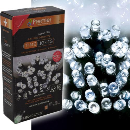200 LED 20m Premier Battery 8 Function Outdoor Smart Timer Lights Cool White