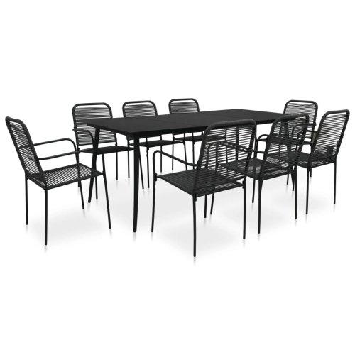 Garden Furniture Set 9 Piece Outdoor Dining Set Cotton Rope and Steel Black