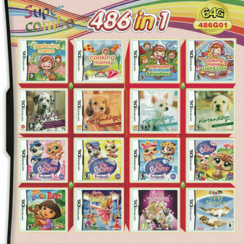 486 in 1 Video Games Cartridge Multicart for DS NDS NDSL NDSi 2DS 3DS