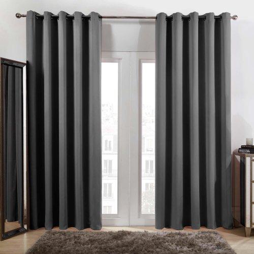 "(Eyelet - Charcoal Grey, 46"" x 54"") Dreamscene Eyelet Blackout Curtains"