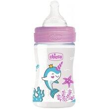 feeding bottle glass transparent/pink 150 ml (0m+)