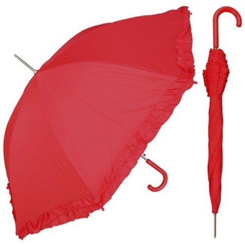 RainStoppers S010RED 48 in. Auto Open Red Parasol Umbrella with Ruffle, 6 Piece