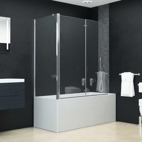 vidaXL Bi-Folding Shower Enclosure ESG 120x68x140cm Bath Screen Cabin Cubicle