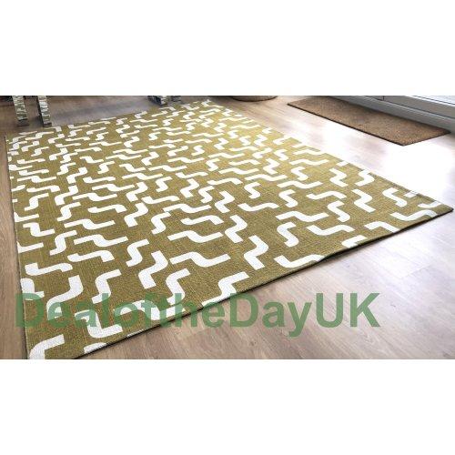 (170 x 240 cm) Large Cotton Print Gold Rug Small Hallway Runner Mat 60 x 120 x 180 170 x 240 cm