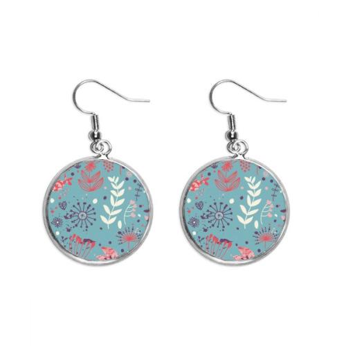 Blue Leaf Flower Plant Paint Ear Dangle Silver Drop Earring Jewelry Woman