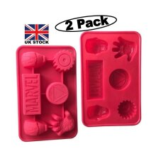 (2 Pack) Marvel Iron Man Character Silicone Shape Chocolate Wax 12 Mould Red