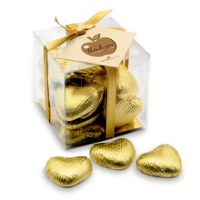 Thank You Teacher Gold Chocolate Hearts Gift Cube
