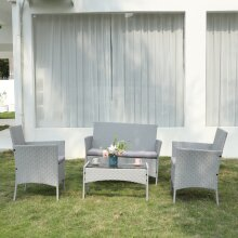 Four Seat Rattan Garden Furniture Set Grey Color With Table