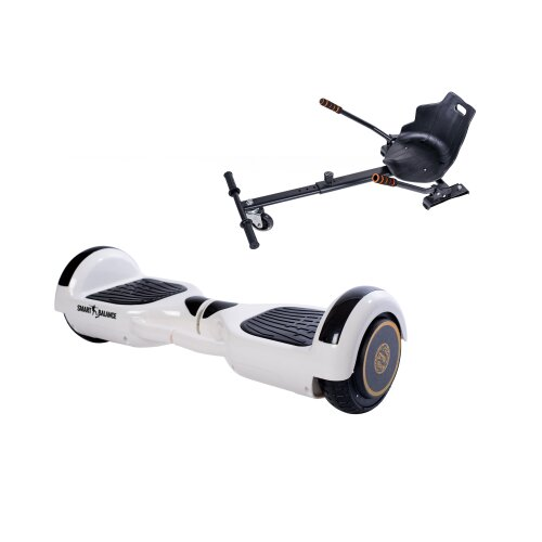 Package Hoverboard 6.5 inch, Smart Balance™ Premium Brand, Regular White Handle + Hoverseat