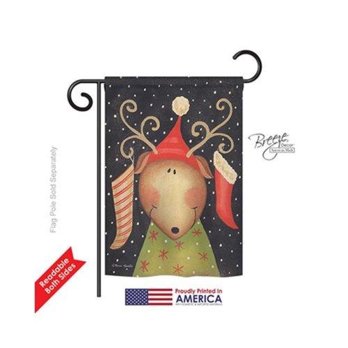 Breeze Decor 64093 Christmas Reindeer 2-Sided Impression Garden Flag - 13 x 18.5 in.
