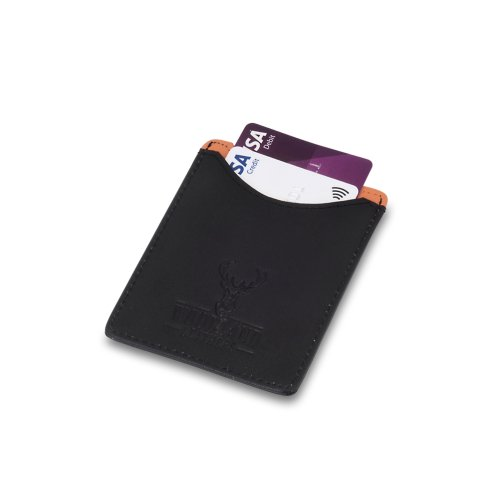 """Woodland Leather Black With Tan Credit Card Money Clip 3.1"""" RFID Wallet"""