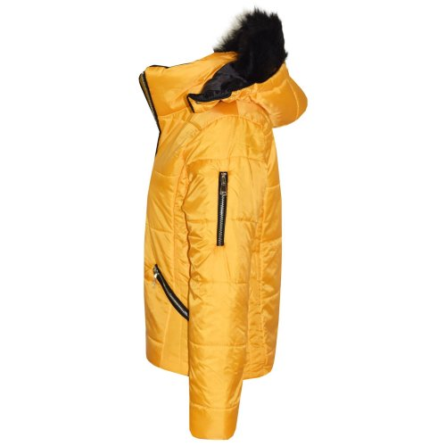 Kids Girls Jacket Mustard Cropped Padded Puffer Bubble Fur Collar Warm Coat 3-13