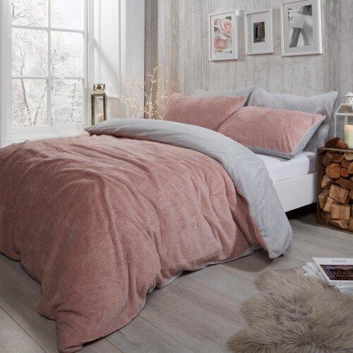 (Blush Pink Grey, Single) Brentfords Reversible Teddy Fleece Duvet Cover with Pillowcase Bedding Set Blush