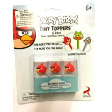 """""""Angry Birds"""" Pencil Toppers 6 Pack: ( 3 Red Birds + 3 Mystery)"""