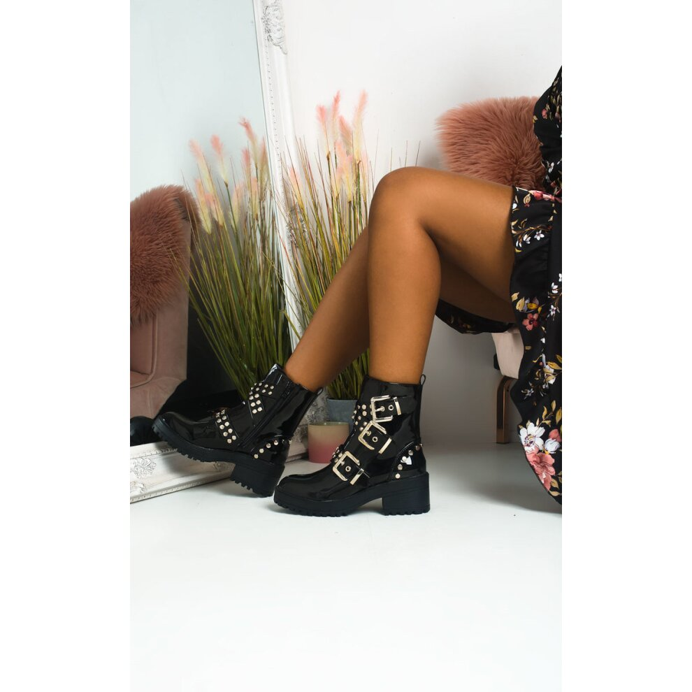 Nealy Buckle Studded Biker Boots in