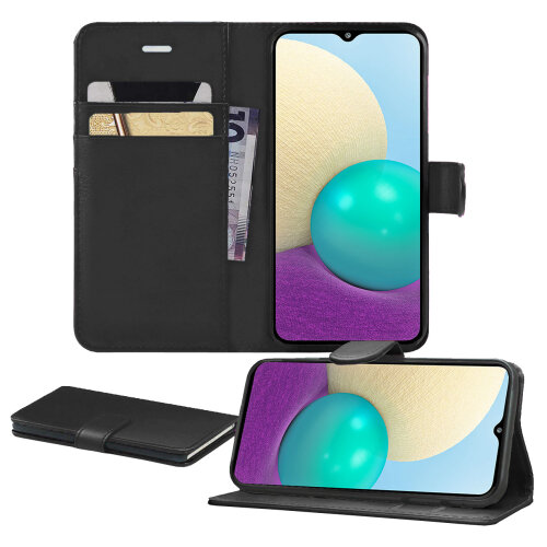 For Samsung A02 Case, Pu Leather With Card Slots [Magnetic Closure] [Kickstand] Wallet PU Leather Flip Cover