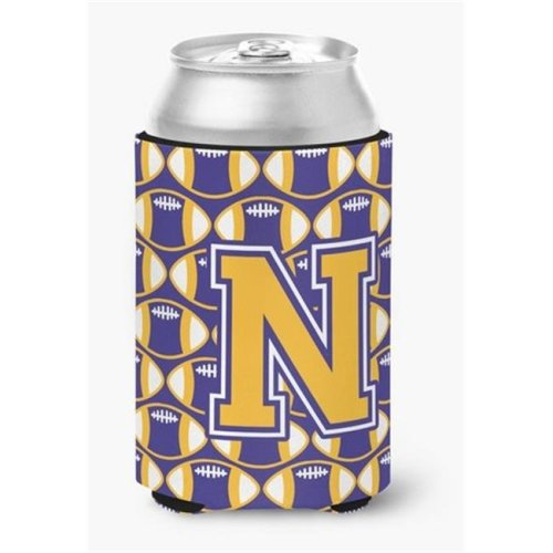 Letter N Football Purple & Gold Can or Bottle Hugger