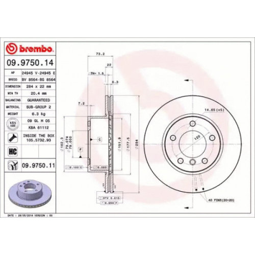 Front Pair (2x) of Brake Disc BREMBO 09.9750.11