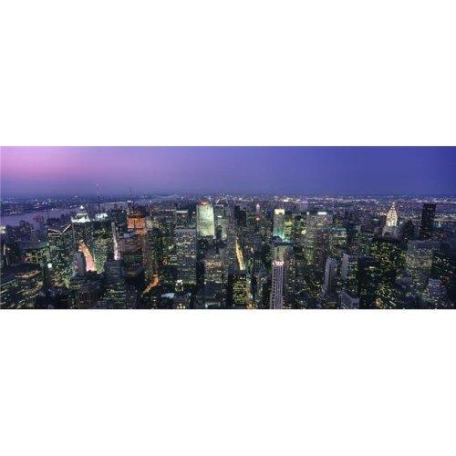 Aerial View of Midtown Manhattan Illuminated At Dusk Poster Print, 44 x 15 - Large