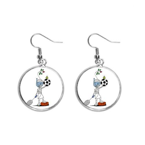 Sports Mummy Horus Soccor Balls Ear Dangle Silver Drop Earring Jewelry Woman