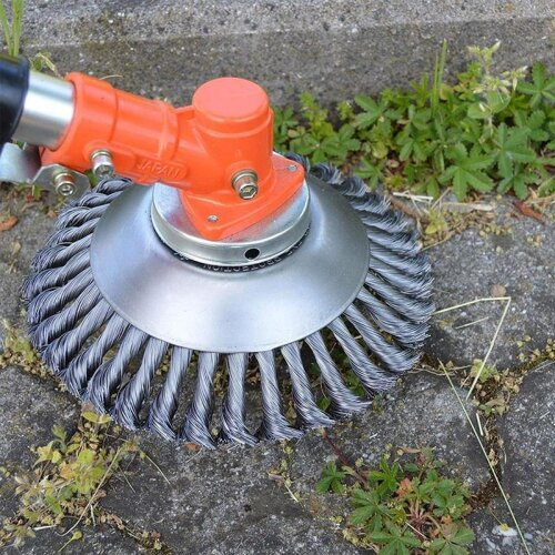 (As Seen on Image) Lawn Mower Grass Eater Trimmer Steel Wire Wheel Garden Weed Brush