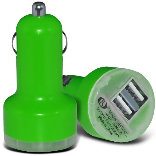 Nokia 5.3 Green Twin Port USB Mini Bullet In Car Charger Adapter