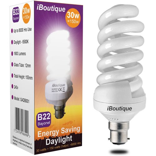 iBoutique 30W Bayonet Daylight Energy Saving Light Bulb Output 150W