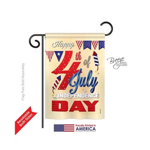 Breeze Decor 61008 Fourth of July Happy 4th 2-Sided Impression Garden Flag - 13 x 18.5 in.