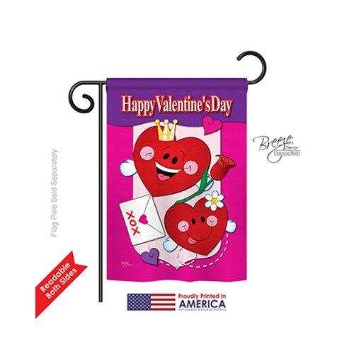 Breeze Decor 51040 Valentines Happy Valentines Day 2-Sided Impression Garden Flag - 13 x 18.5 in.